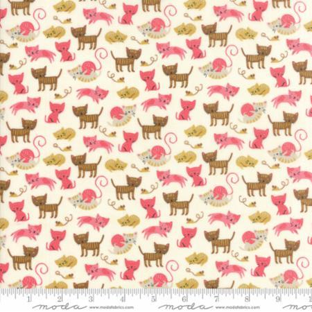 Moda Woof Woof Meow Pink Cream 20564 11 Yardage