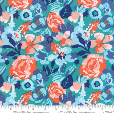 Moda Voyage Kew Turquoise 27281 11 Yardage