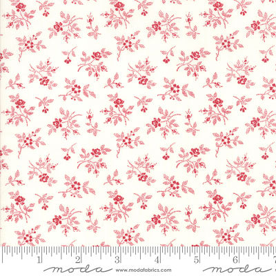 Moda My Redwork Garden Cream Red 2956 13 Yardage