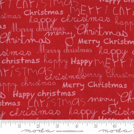 Moda Merry Scriptmas Christmas Red 33263 13 Yardage