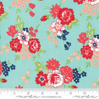 Moda Smitten Bouquet Aqua 55171 12 Yardage