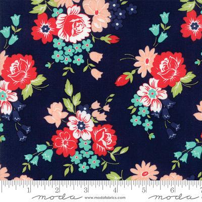 Moda Smitten Bouquet Navy 55171 15 Yardage