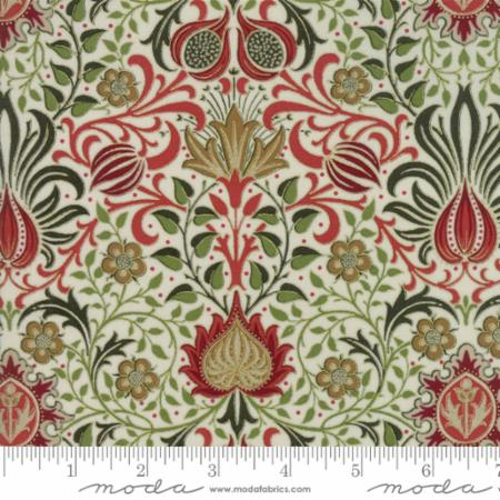 Moda Morris Holiday Linen Multi 7311 11M Metallic Yardage