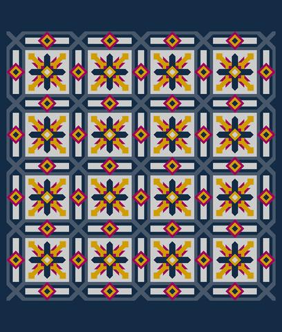 Printed Quilt Kit Panel - Cypress BLUEBERRY
