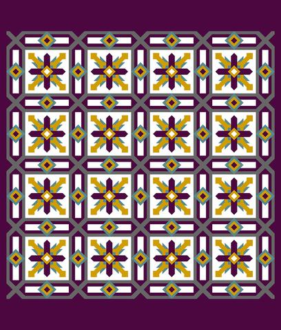 Printed Quilt Kit Panel - Cypress EGGPLANT