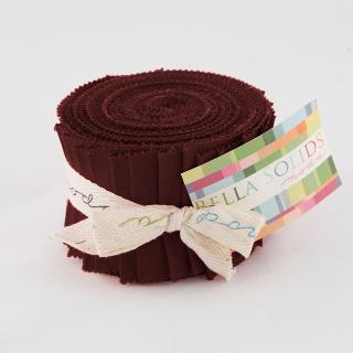 Moda Bella Solids Junior Jelly Roll - Burgundy 9900 18