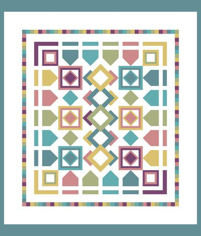 Printed Quilt Kit Panel - Celebrate SPRING WHITE