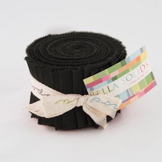 Moda Bella Solids Junior Jelly Roll - Charcoal 9900 284