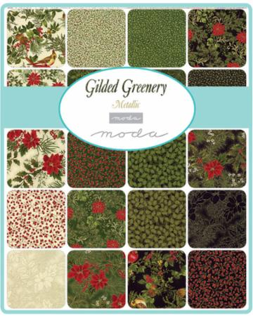 Moda Fat Quarter Bundle - Gilded Greenery Metallics by Moda
