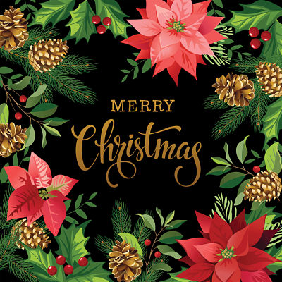 Moda Panel - Gradients Holiday Panel Black Merry Christmas