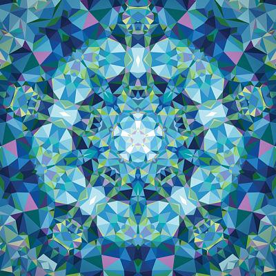 June/19 - Gradients Kaleidoscope Panel Blue Flower