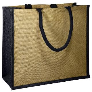 Jute Bag With Black Gusset