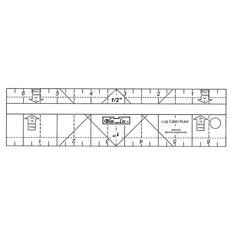 "Log Cabin Bloc Loc Ruler 1/2"" & 1"""