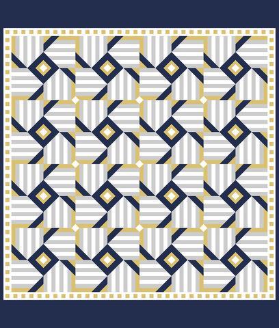 Printed Quilt Kit Panel - Magic Windmill BLUE