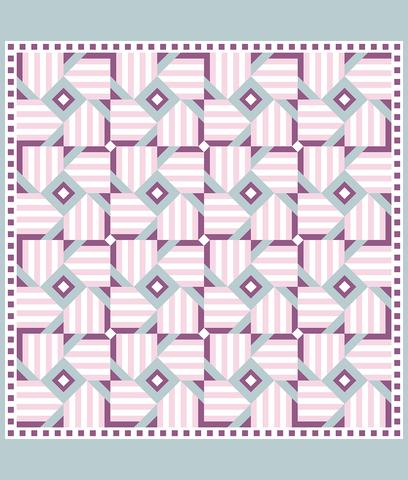 Printed Quilt Kit Panel - Magic Windmill PINK