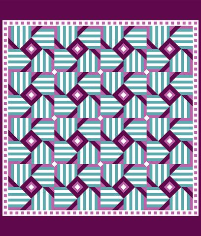 Printed Quilt Kit Panel - Magic Windmill PURPLE