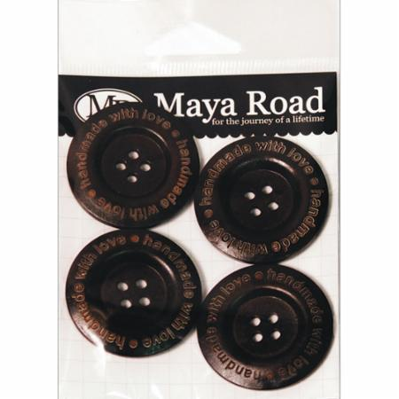 Wood Buttons Handmade With Love - Dark Chocolate