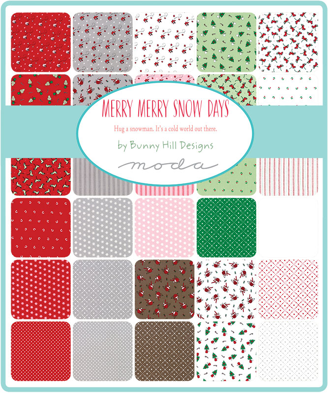 Moda Fat Eighth Bundle - Merry Merry Snow Days by Bunny Hill Designs