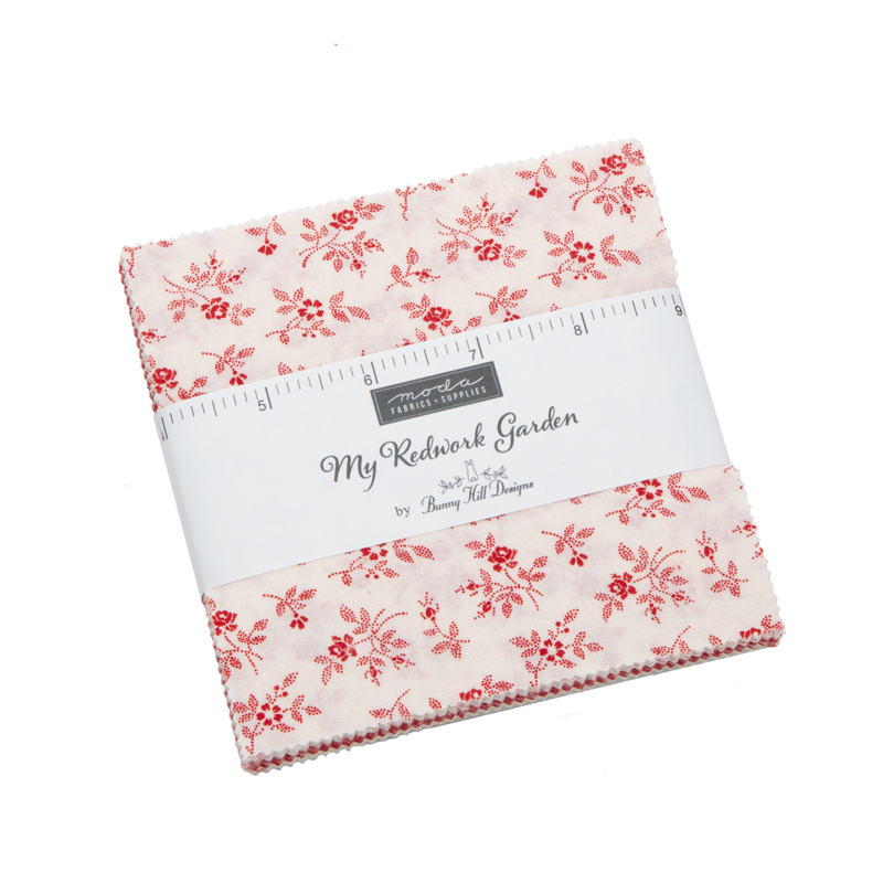 Moda Charm Pack - My Redwork Garden by Bunny Hill Designs