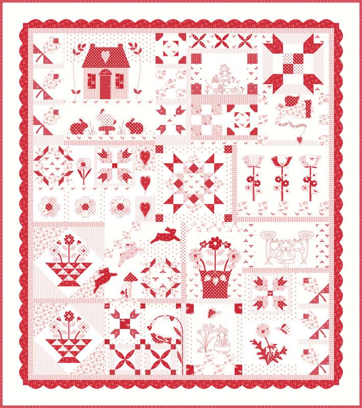 Moda Quilt Kit - My Redwork Garden by Bunny Hill Designs