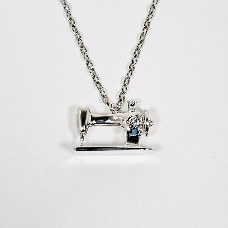 Silver Sewing Machine Pendant