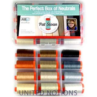 Perfect Box Of Neutrals 50wt Aurifil 12 Large Spools