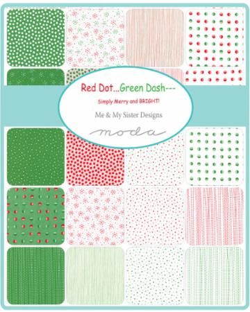 Moda Jelly Roll - Red Dot Green Dash BRUSHED by Me & My Sister