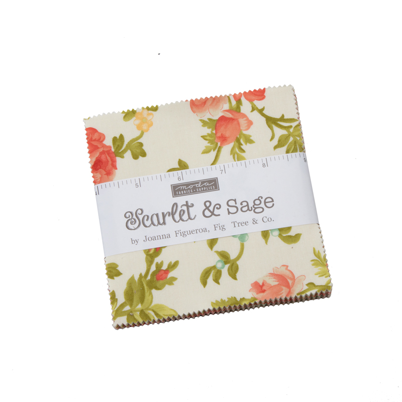 Moda Charm Pack - Scarlet & Sage by Fig Tree Quilts