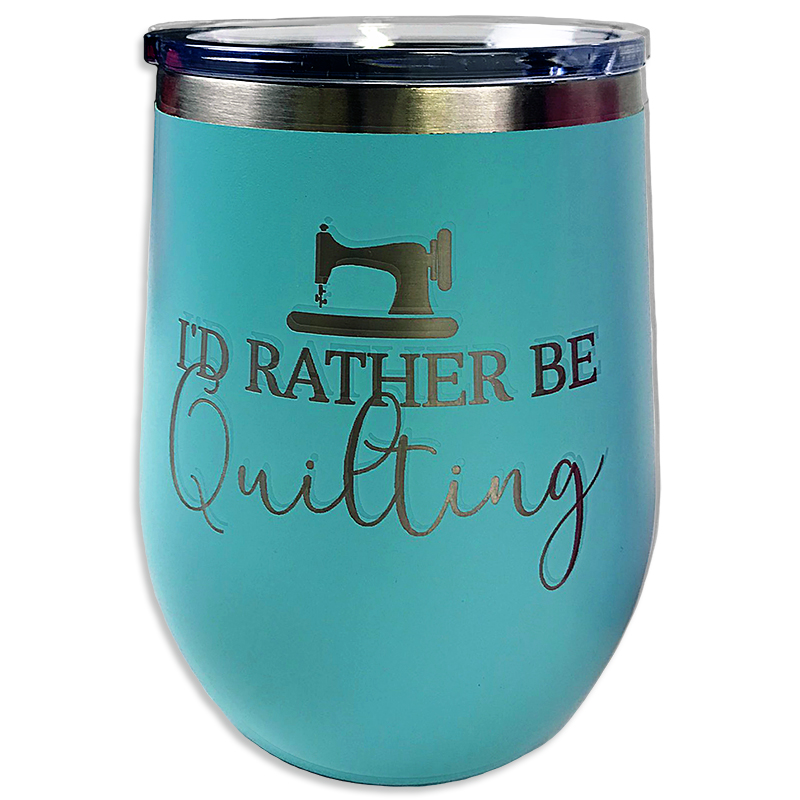 Tumbler Teal Rather Be Quilting