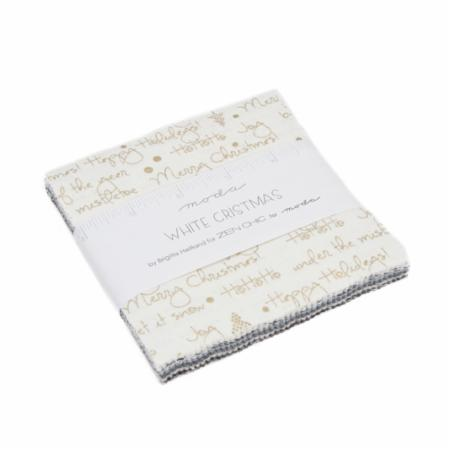Moda Charm Pack - White Christmas Metallics by Zen Chic