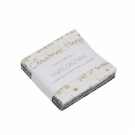 Moda MINI Charm - White Christmas Metallics by Zen Chic