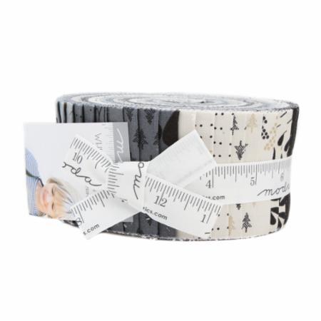 Moda Jelly Roll - White Christmas Metallics by Zen Chic