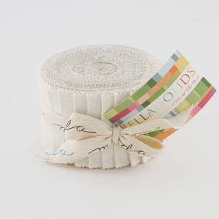 Moda Bella Solids Junior Jelly Roll - White 9900 98